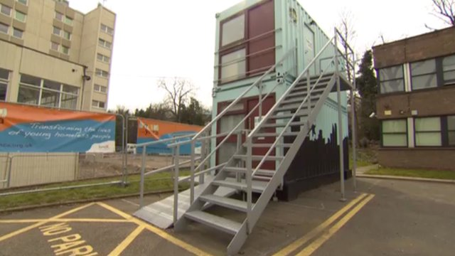 Forest ymca offers converted shipping containers to homeless bbc news - Container homes london ...