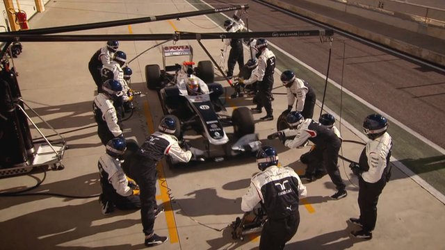 The Williams pit crew in action