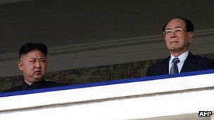Kim Jong-un looks at the Kim Yong-nam (R) during a military parade (April 2012)