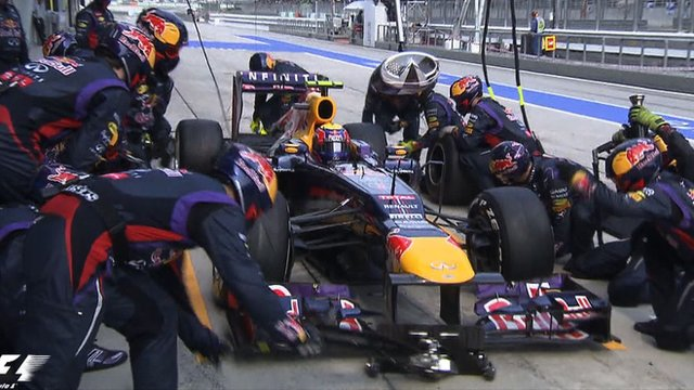 Red Bull's pit crew in action