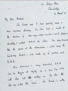 Letter written by Francis Crick to his son in March 1953