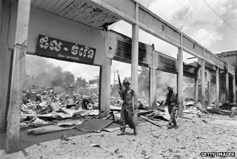 A bombed-out shopping centre in Cambodia, 1970
