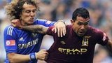 Chelsea defender David Luiz and Manchester City striker Carlos Tevez