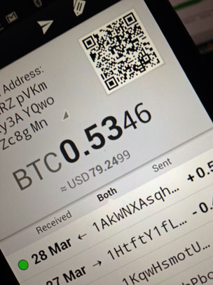 Bitcoin display on phone