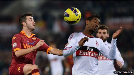 Roma play Milan in a Serie A Italian league match this season