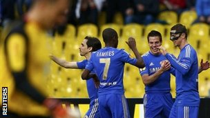 Chelsea celebrate Fernando Torres's early goal in Moscow