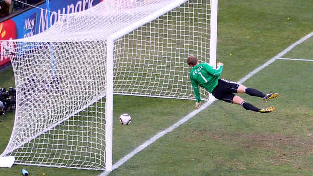 German goalkeeper Manuel Neuer watches a ball from Frank Lampard cross the line in the 2010 world cup in South Africa.