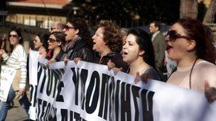 Protestors in Nicosia