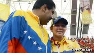 Nicolas Maduro and his wife, Cilia Flores (30 March 2013)