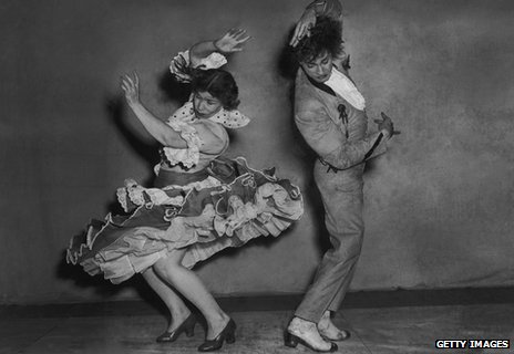Spanish flamenco dancers Rosario and Antonio rehearse the 'triana' at the Cambridge Theatre in London,  1951