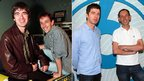 Noel Gallagher and Steve Lamacq in 1997 and in 2011