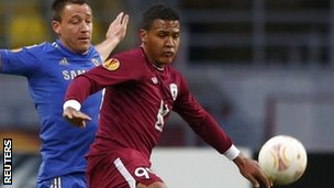 Chelsea's John Terry (left) and Rubin Kazan's Jose Rondon battle for the ball