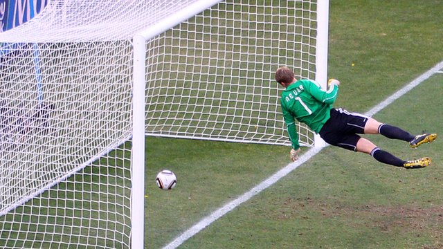 Frank Lampard's strike crosses the line at World Cup 2010
