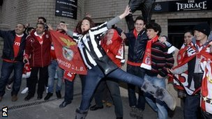 Benfica fans ahead of their game at Newcastle