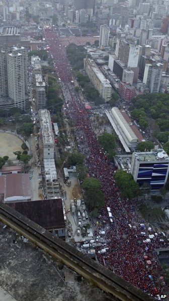 Nicolas Maduro supporters crowd the streets of Caracas