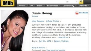 Screenshot of Junie Hoang's IMDb profile