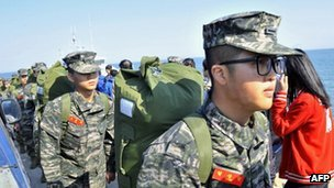 South Korean marines arrive at the  island of Yeonpyeong near disputed waters