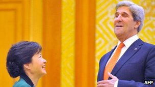 South Korean President Park Geun-hye (left) and US Secretary of State John Kerry in Seoul on 14 April 2013