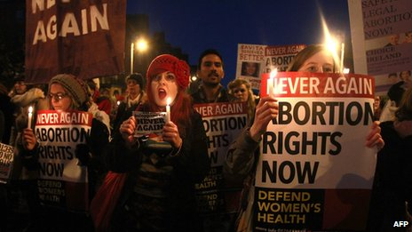 An abortion rights rally in Ireland