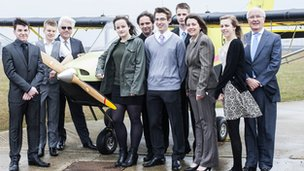 School pupils with the plane they constructed