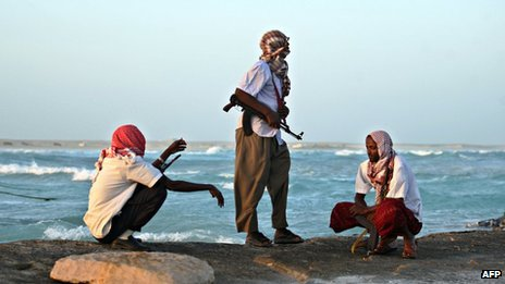 Pirates in Hobyo town, January 2010