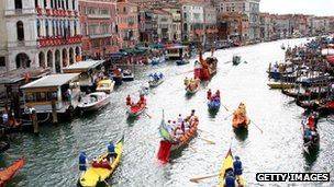 A general view of the Canal Grande during the Venice Historical Regatta on September 7, 2008 in Venice, Italy
