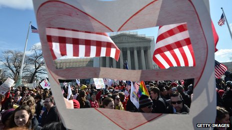 Demonstration in favour of marriage equality outside the Supreme Court in Washington DC