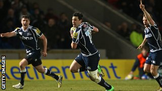 Cameron Shepherd scores a try for Sale against Gloucester