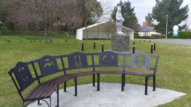 Statue of Brunel awaiting unveiling in Neyland, Pembrokeshire