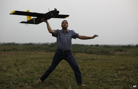 Drones like the one pictured are being used to detect poachers in the Indian state of Assam - one of the many non-military uses for such aircraft