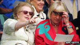 Margaret Thatcher with her daughter Carol at Wimbledon in 2006