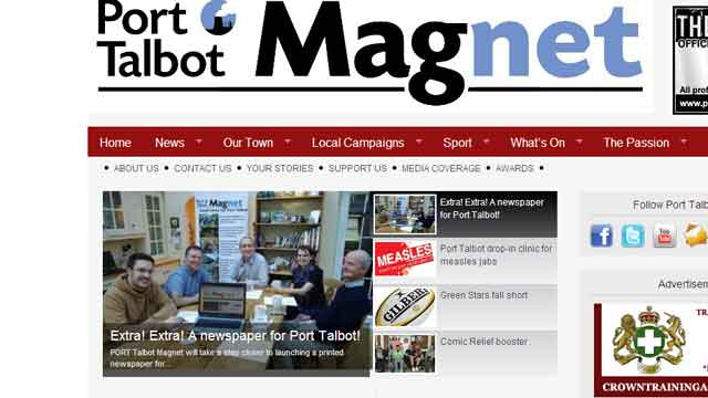 Screen grab of Port Talbot magnet