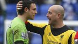 Reading goalkeeper Alex McCarthy with Liverpool's Pepe Reina