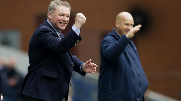 Ally McCoist (left) celebrates his side's win at home to Clyde
