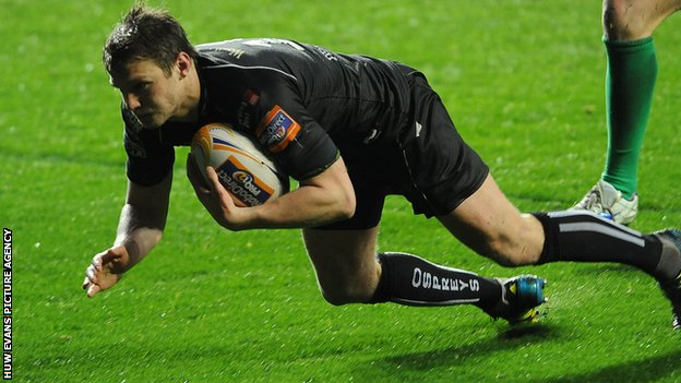 Dan Biggar scores a try for the Ospreys