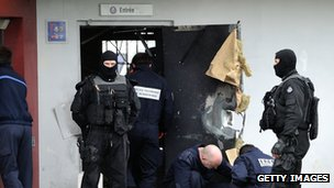 Police investigators outside Sequedin prison on the outskirts of Lille
