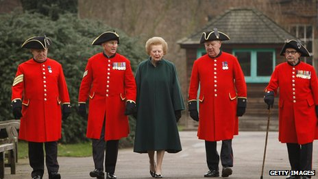 Chelsea Pensioners with Lady Thatcher in 2008