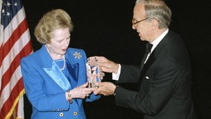 Margaret Thatcher and Rupert Murdoch in 1991