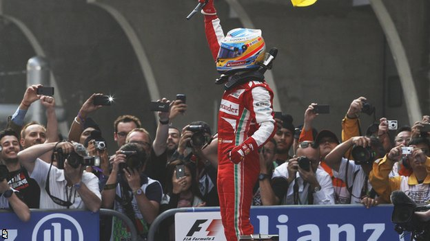 Fernando Alonso celebrates after winning the Chinese Formula One Grand Prix