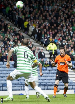 Jon Daly scores for Dundee United against Celtic