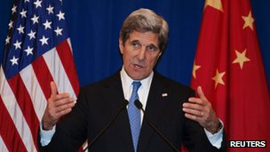 US Secretary of State John Kerry attends a news conference in Beijing (13 April 2013)