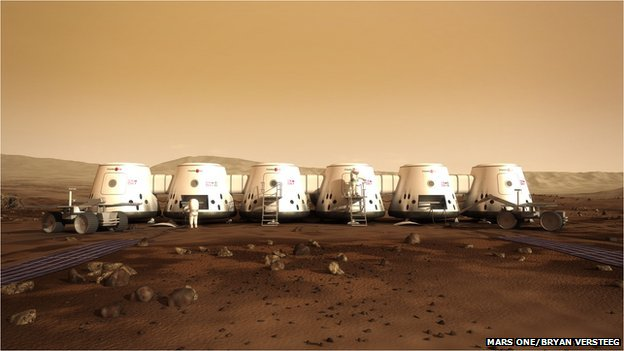 Artists interpretation of the settlement on Mars