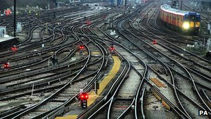 Railway tracks outside Clapham Junction station in London