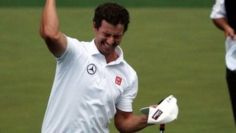 Adam Scott celebrates winning the Masters