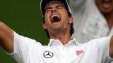 Adam Scott celebrates winning the Masters