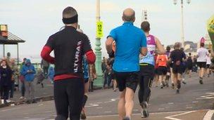 Runners at Brighton Marathon