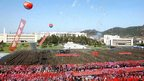 This picture taken by North Korea's official Korean Central News Agency (KCNA) on April 14, 2013 shows a huge crowd gathered as bronze statues of late North Korean leaders Kim Il-Sung (L) and Kim Jong-Il (R) are unveiled in Pyongyang ahead of the 101st anniversary of the birth of Kim Il-Sung.