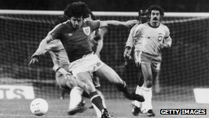 Kevin Keegan in action for England v Brazil in 1978