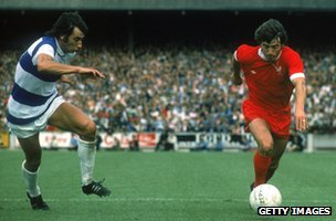 Kevin Keegan (r) in action for Liverpool against QPR in 1975