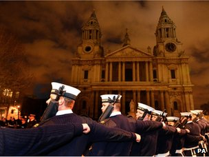 Members of the Royal Navy on the approach to St Paul's Cathedral during a rehearsal for the funeral of Baroness Thatcher